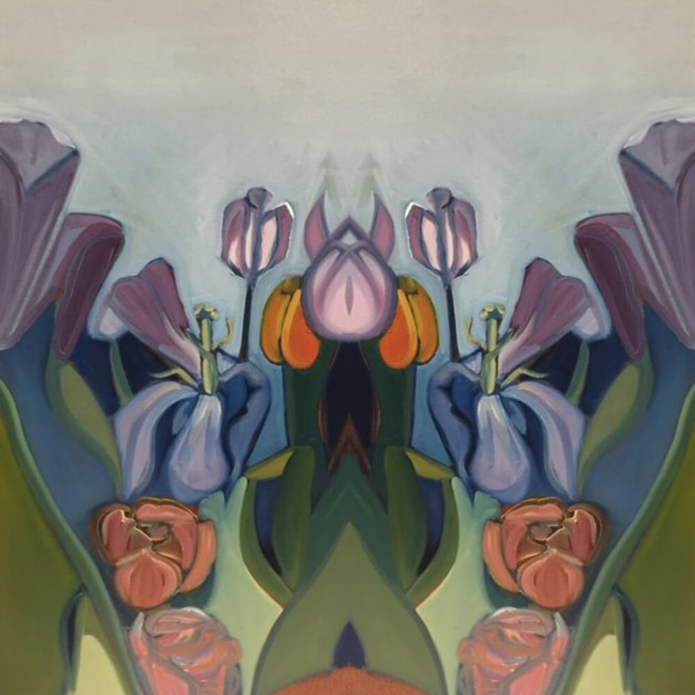 Through the Tulips Abstracted - Greeting Card