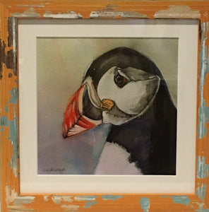 Puffin - Framed Print - Blue Shabby Chic