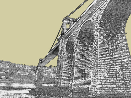 Menai Bridge Arches - Gold, Blue or Grey - Mounted