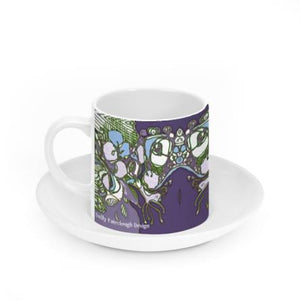 Ceramic Espresso Cup and Saucer - Purple Abstract Flowers
