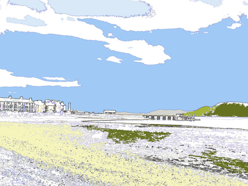 Beaumaris - West End and Pier - Mounted Print