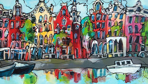 Amsterdam witte boot (80 x 140cm) - ArtFusion.nl
