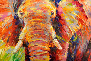 Chewing elephant (120 x 180cm) - ArtFusion.nl