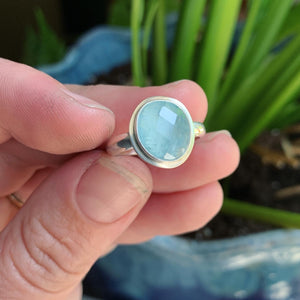 Rose Cut Aquamarine and Sterling Silver Ring