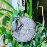 Crazy Lace Agate, Citrine and Sterling Silver Pendant with 3-chain Necklace