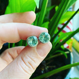 Green Amethyst and Sterling Silver Posts