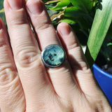 Rose Cut Peruvian Blue Opal and Sterling Silver Ring