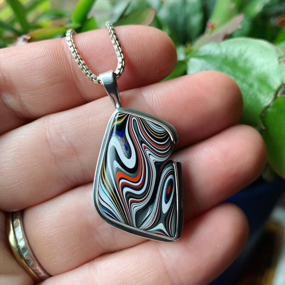 Fordite and Sterling Silver Pendant