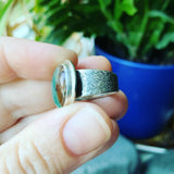 African Aquaprase and Sterling Silver Ring