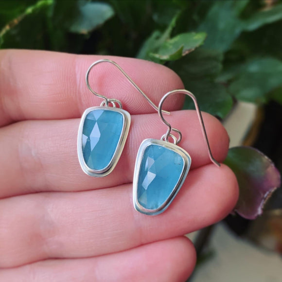 Rose Cut Aquamarine and Sterling Silver Earrings