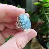 Blue Tide Seam Agate and Sterling Silver Ring