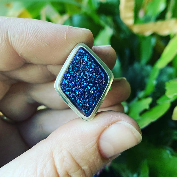Cobalt Blue Drusy and Sterling Silver Ring