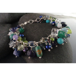 Blues, Green, Purples Sterling Silver Multi-Beaded Bracelet