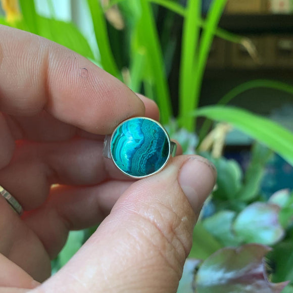 Chrysocolla and Sterling Silver Ring