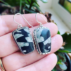 Chinese Writing Stone and Sterling Silver Earrings