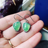 Rose Cut Chrysoprase and Sterling Silver Earrings