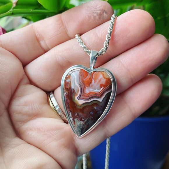 Crazy Lace Agate and Sterling Silver Heart Pendant