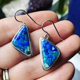 Malachite/Azurite and Sterling Silver Earrings