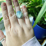 Dendritic Chrysoprase and sterling silver ring