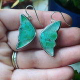 Gem Silica (Chalcedony) and Sterling Silver Butterfly Earrings