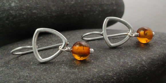 Triangle Sterling Silver Earring with Amber Dangle