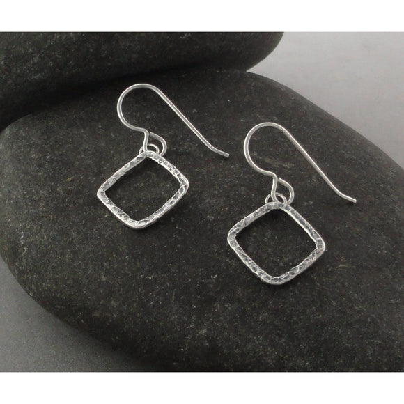 Diamond-shaped sterling silver earrings