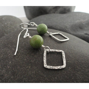 Gaspeite and Sterling Silver Dangle Earring