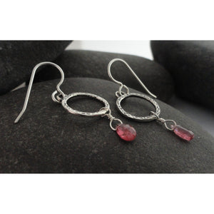 Pink Tourmaline and Sterling Silver Earrings
