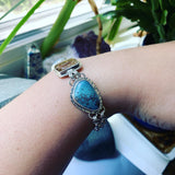 Aquamarine, Leland Blue Slag, and Ammonite Sterling Silver Bracelet