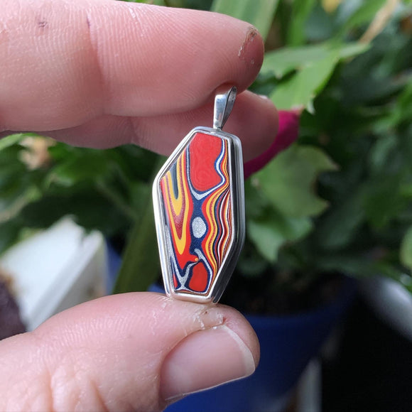 Fordite (Detroit Agate) and Sterling Silver Pendant