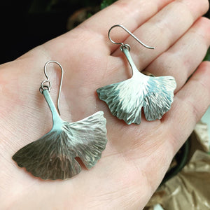 Sterling Silver Ginkgo Leaf Earring