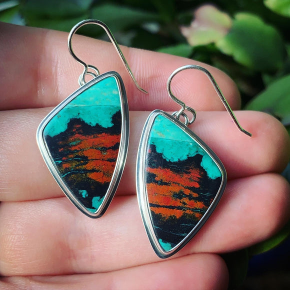 Sonoran Sunrise Cuprite with Chrysocolla and Sterling Silver Earrings