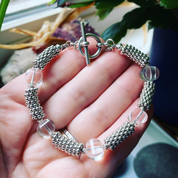 Clear Quartz and Sterling Silver Bracelet