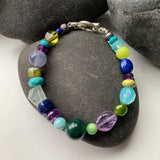Multi Beaded Bracelet in Cool Tones