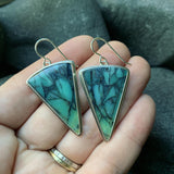 Indonesian Opalized Wood and Sterling Silver Earrings