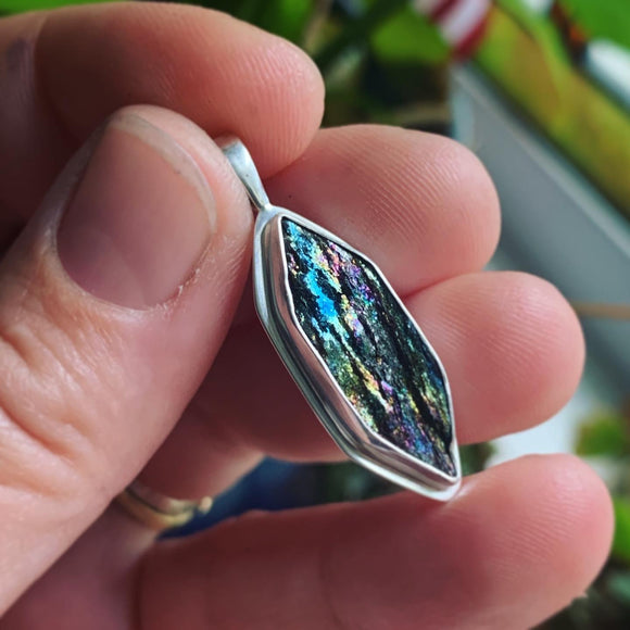 Natural Surface Rainbow Hematite and Sterling Silver Pendant