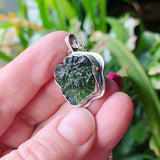 Moldavite and Sterling Silver Pendant