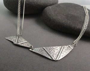 Sterling Silver Textured Zig-Zag Necklace