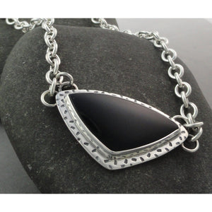 Black Onyx Textured Necklace