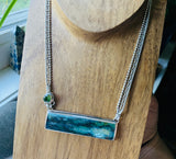Indonesian Opalized Wood, Natural Peridot and Sterling Silver Necklace 19""