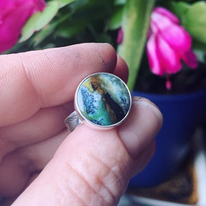 Indonesian Opalized Wood and Sterling Silver Ring