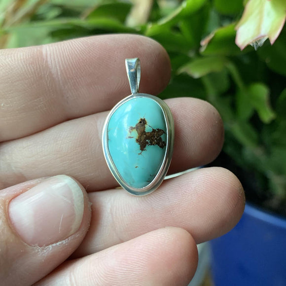 Hubei Turquoise and Sterling Silver Pendant