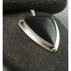 14K Gold, Black Onyx and Sterling Silver Pendant