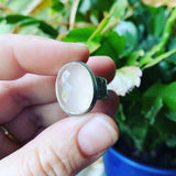 Rose Cut Rose Quartz and Sterling Silver Ring