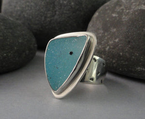 Blue Drusy and Sterling Silver Ring