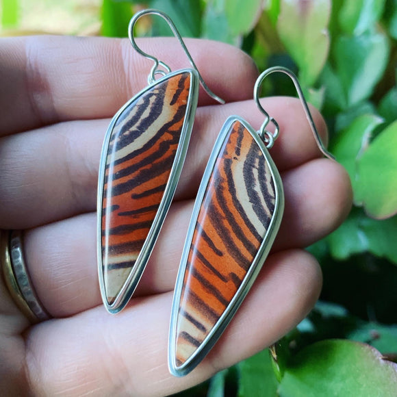 Ripple Jasper and Sterling Silver Earring