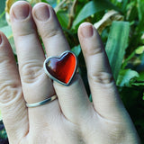 Rosarita Red Gold Slag Glass and Sterling Silver Ring