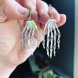 Sterling Silver Skeleton Hands Earrings