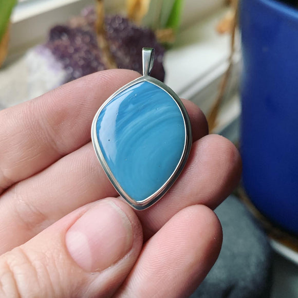Swedish Blue Slag Glass and Sterling Silver Pendant