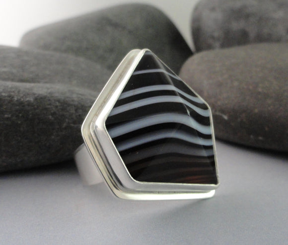 Tuxedo Agate and Sterling Silver Ring